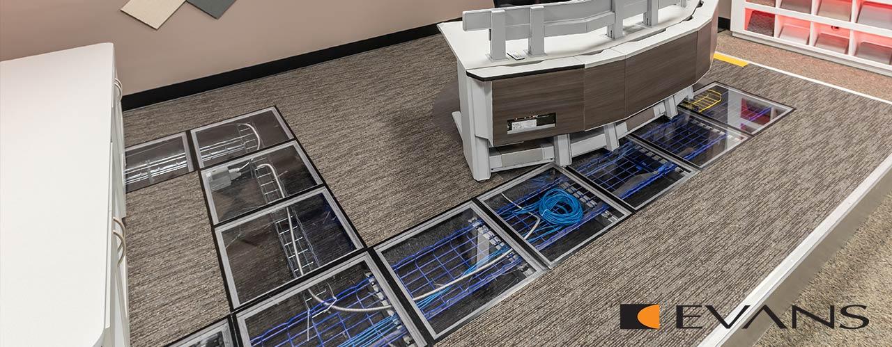 Evans raised flooring cable management hides cables